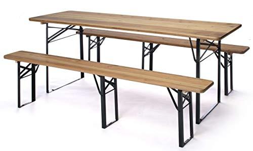 taddei Set Birreria da Giardino Pieghevole in Ferro Tavolo 220x80 cm e 2 Panche Plastik Wood Naturale