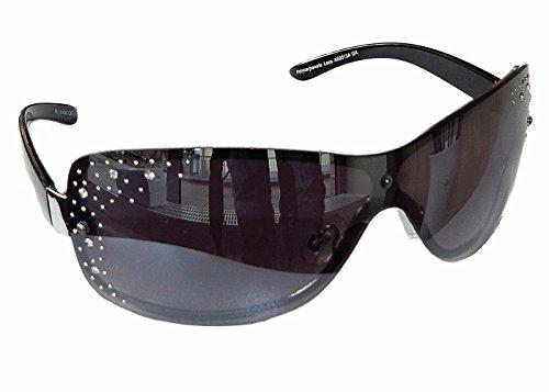 ille mit Strasssteinen Aviator Brille Monoglas Sportlicher Style Damen M 33 (Schwarz Silber) (Super Dunkle Sonnenbrille)