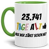Tassendruck Geburtstags-Tasse 23741 Tage alt - Aber wer zählt Schon mit Geburtstagsgeschenk zum 65. Geburtstag in Innen & Henkel Hellgrün/Geschenkidee / Scherzartikel/Kaffeetasse / Mug/Cup