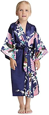 Aibrou Satén Kimono Pijamas Niña, Cómoda Bonita Larga Pijama Camisón Bata Albonoz Para Fiesta,Boda,Cumpleaños,Casa,Dormir.
