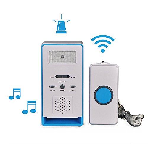 FUNRUI Sistema de alarma para el paciente, alarma inalámbrica con alarma para el hogar, botón de emergencia, timbre, monitor de ancianos, dispensador de cuidados personal para ancianos, niños y mujeres embarazadas