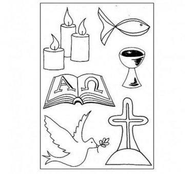 EFCO–Stempel klar christliche Symbole A7/74x 105mm 6Teile Transparent, 11x 8x 2cm