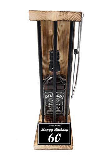 (Happy Birthday 60 Geburtstag - Die Eiserne Reserve ® Black Edition mit Jack Daniels 0,70L incl. Säge zum zersägen der Stäbe - Die ausgefallene lustige witzige besondere Geschenkidee)