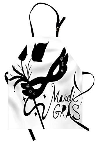 ABAKUHAUS Mardi Gras Kochschürze, Klassische Maske mit Blumen-Federn stilisierte Kalligraphie-Stern-Schattenbilder, Farbfest Höhenverstellbar Waschbar Klarer Digitaldruck, Weiß und Schwarz