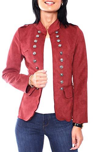 Easy Young Fashion Damen Velours Jersey Blazer Jacke Militaryblazer Tailliert Uni Bordeaux L 40 (XL)
