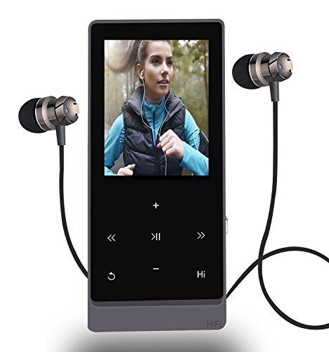 MP3-Player 8GB Hi-Fi verlustfreie Sound Bluetooth Musik Player mit Touch Button & FM Radio und Voice Recorder Funktion, Unterstützung erweiterbar auf bis zu 32GB (schwarz) (Touch Radio)