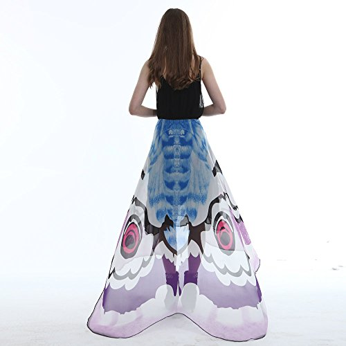 (Junjie Chiffon Schmetterling Flügel Schal,Damen Ladies Costume Pashmina mit Armband Nymphe Elf Kostüm Transparent Partei Rosa Grünes Multicolor Gelb Größe: 185 * 145cm)