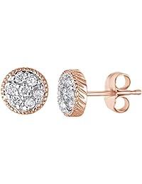 ec7f4fb6ee55 Pendientes de oro blanco macizo de 14 ct 585 con esmeralda verde imitación  de corte redondo con diamante…