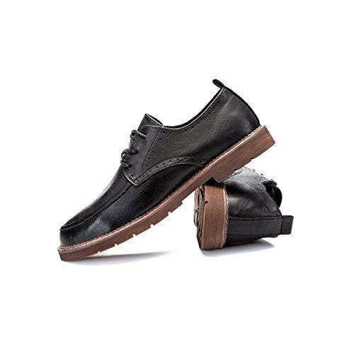 LYZGF Uomo Gioventù Casual Retro Trendy Basso Stringate Scarpe In Pelle Black