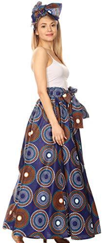 Sakkas 16317 - Asma Convertible Traditional - Wax - Print - Verstellbarer Riemen - Maxirock Kleid - 423-BlueMulti - OS - Ethnische Print Kleid