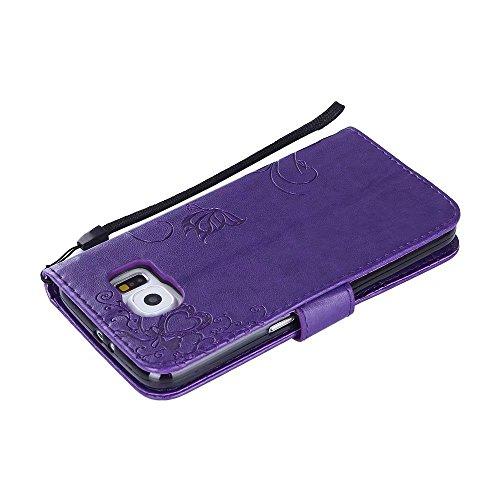 Horizontale Bookstyle Flip Case Premium PU Ledertasche, Solid Color Embossed Blumen Schutzmappe Beutel Case Cover mit Lanyard & Stand für Samsung Galaxy S6 ( Color : Purple ) Modena