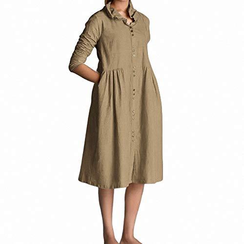 garm Button-down Lose Leinen Kleid 2019 Weiblich Lässig Plissee Party Plus Size-in Kleider von ()