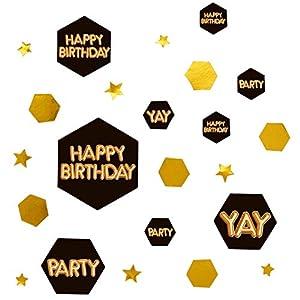 Neviti- Glitz & Glamour Black & Gold Confetti Scatter-Happy Birthday Confeti, Color black/gold, 5 x 1 x 5 (774298)