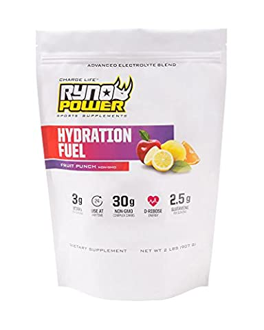 Ryno Power Hydration Fuel - Fruit Punch Flavor - Advanced Electrolyte Sports Supplement - Contains BCAAs, D-Ribose, and Glutamine - Non- GMO - 2 lbs.