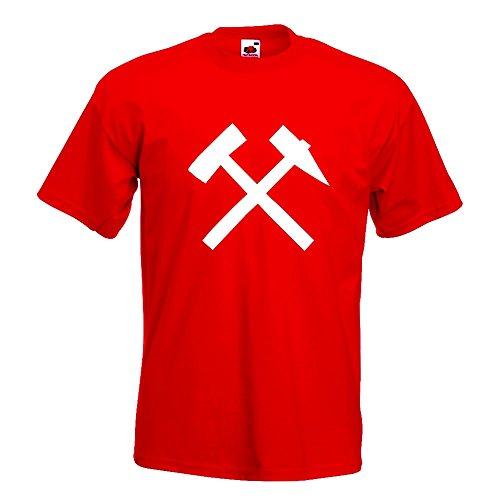 KIWISTAR - Bergbau - Glück auf! - Kumpel T-Shirt in 15 verschiedenen Farben - Herren Funshirt bedruckt Design Sprüche Spruch Motive Oberteil Baumwolle Print Größe S M L XL XXL Rot