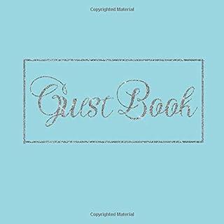Guest Book: Aqua Pastel Sky Blue Silver Wedding/Birthday/Graduation/Baby ... Log,Photo,Unique Elegant Ideas Sweet