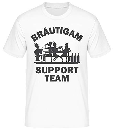 Shirtinator Männer Bräutigam Support Team T-Shirt | Junggesellenabschied Geschenkidee für Herren | Witziges T-Shirt (Weiß/M) (Kostüm Ideen Vegas Party)