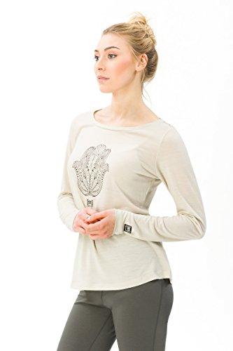super.natural Damen Langarm-Shirt mit Aufdruck, Mit Merinowolle, W GRAPHIC LS 140, Größe: M, Farbe: Beige -