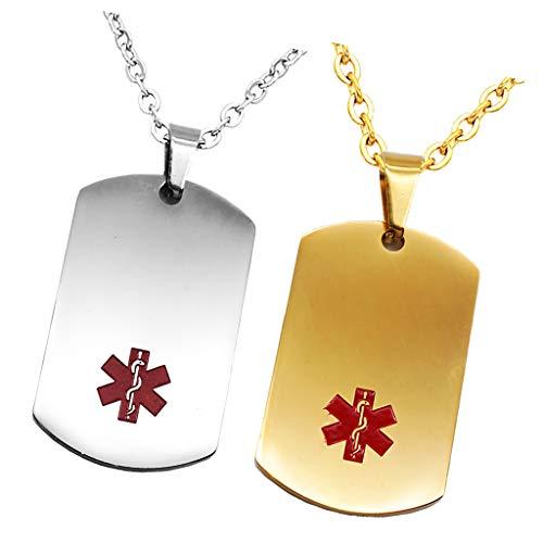 Hellery 2 Stü Herz Charm Medical Alert Tags Halskette Erkennungsmarke Silber Gold Edelstahl Anhänger Halskette - Medical Alert-herz
