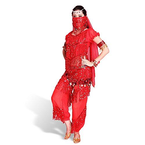 SymbolLife Belly professionnelle costume de danse, Halter Bra Top + Pantalon + Ceinture longue + foulard + Bracelet + brassard + Foulard Visage Rouge