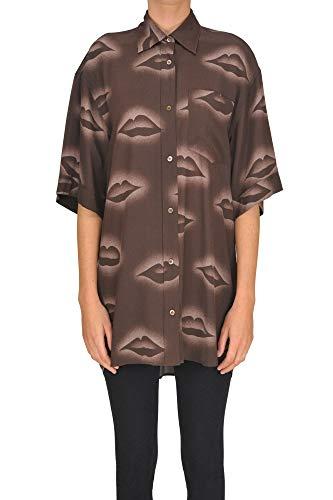 Dries van Noten Oversized Silk Shirt Woman Brown S int.