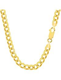 10k Yellow Gold Curb Hollow Chain Necklace, 5.3mm