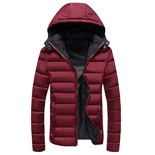 Highdas Veste Hiver Hommes Coton Doudoune Parkas Epais Chaud Pardessus Capuche Rouge
