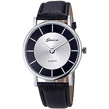 37YIMU® Señoras cuarzo Reloj para mujeres de estilo vintage de correa de cuero, Caja de reloj exquisita como regalo gratis , Negro