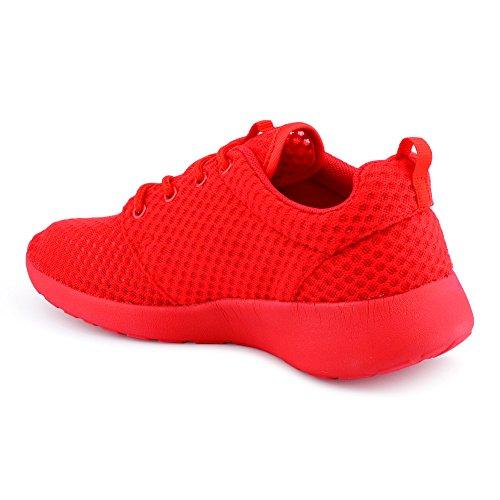 Herren Damen Sneaker Sportschuhe Lauf Freizeit Runners Fitness Low Unisex Schuhe Rot/Damen
