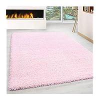 Shaggy Rug Long Pile Carpet Single Color different colors and sizes - Pink, 60x110 cm