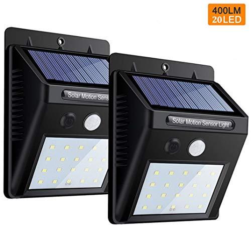 Premewish Solarleuchten mit Bewegungsmelder,20 LEDs Solarlampe Garten für Außen,Wasserdicht IP65,2er-Set