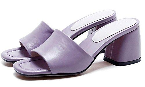 En sandales d'été avec le mot cool pantoufles épais avec des chaussures mode pantoufle de dame violets