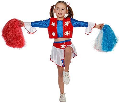 narrenkiste W3595-152 blau-rot-weiß Kinder Cheerleader Kostüm Mädchen Uniform Gr.152 (Rote Weiße Und Blaue Cheerleader Kostüm)