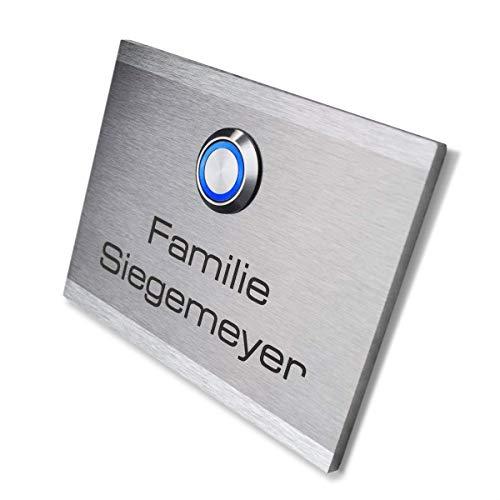 Metzler-Trade - Türklingel mit Gravur - mit LED-Taster (verschiedene Farben wählbar) - inkl. Beschriftung - Unterputz-Montage - wasserdichter Taster - Maße: 110 x 80 mm