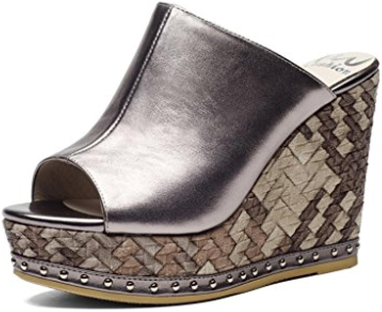 Sandali con tacco alto e pantofole pantofole pantofole   Ciabatte con zeppa per piattaforma estiva in pelle per donna   Pantofole...   Adatto per il colore    Scolaro/Signora Scarpa  20cf55