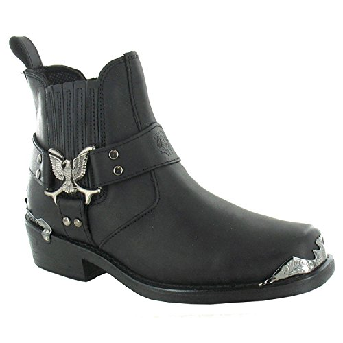Grinder Mens Eagle Lo Leather Boots Noir