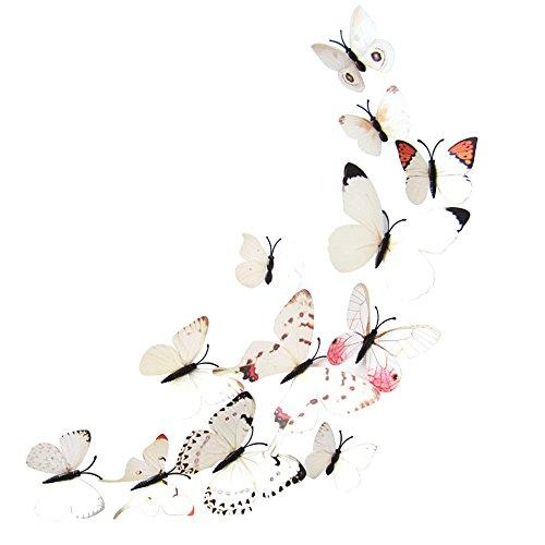 Meclelin Wandtattoo 3D Schmetterlinge Blumen 12er Set Dekoration