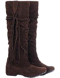 a2b77898d280 Minetom Femmes Hiver Bottes Ébouriffer Mat Surface Hauteur Croissante  Chaussures Avec Gland Chaussures