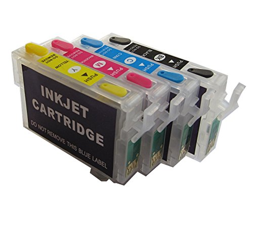 4 wiederbefüllbare Quickfill - Fill-in - Easy Refill Patronen mit Auto-Reset-Chips T16 XL / T1621, T1622, T1623, T1624 / T1631, T1632, T1633, T1634 -