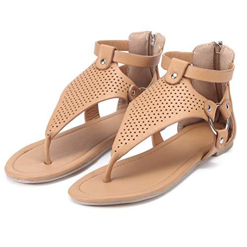 Frauen Gladiator Flache Sandalen Hohler T-Riemen Mit Reißverschluss Hinten Tanga Flip Flops Sommer Strand Schuhe Vince Wrap