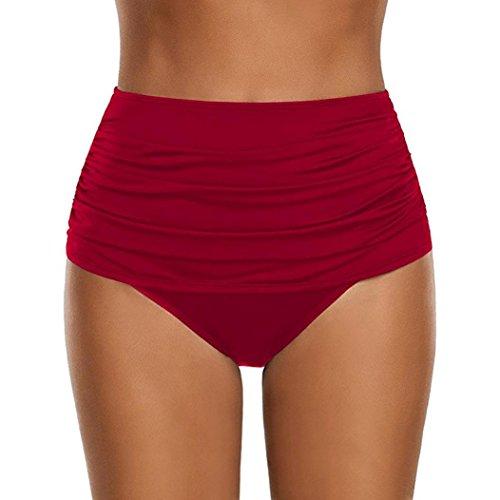 OverDose Damen Plus Größe Badehose Frauen hoch taillierte Badehose Geraffte Bikini Hosen Schwimmen Shorts Swim Shorts (Rot,XL) (Shorts Xl Swim Frauen)