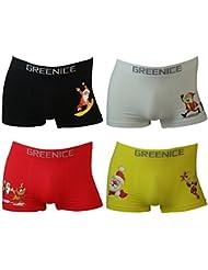 4er Pack Herren Boxershorts Microfaser Motiv Weihnachten in 4 Farben