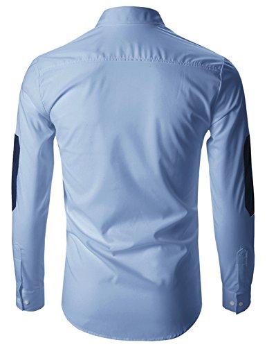 FLATSEVEN Chemise Cintrée Slim Fit Designer Habillée Homme Chic SH108 Bleu Pâle