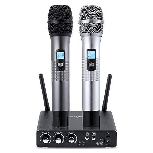 Microfono Wireless Professionale, Microfono Bluetooth Wireless Senza Fili a 25 Canali UHF Set con Mini Ricevitore Portatile per Karaoke, Conferenze, Feste, Riunioni