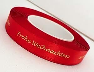 """25m Schleifenband Weihnachten 15mm mit Aufdruck """" Frohe Weihnachten"""" Rot"""