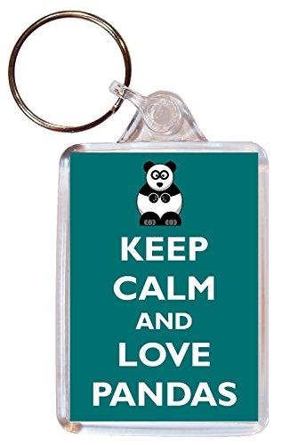 Keep Calm Love Pandas - Double Sided Large Keyring Gift/Present/Souvenir