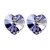 Swarovski Elements 18K White Gold Plated Earrings Encrusted with Purple Swarovski Crystals, SWR-404