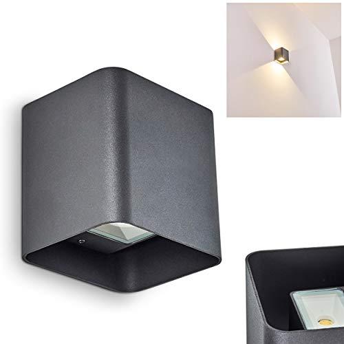 Moderne LED Außen-Wandleuchte VIKOM aus Metall in Anthrazit – Wandspot mit Up/Down-Effekt für die Fassade im eckigen Design – Wandstrahler 3000 Kelvin – 540 Lumen – Wandspot für drinnen und draußen