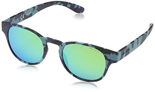 Police - occhiali da sole s1945 exchange 2 rotondi, semi matt blue & black camouflage frame/green mirror lens
