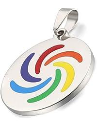 JewelryWe Joyería Arco Iris LGBT Lesbiana Gay, Colgante Unisex Para Hombre Mujer, El Orgullo Placa De Acero Pulido Collar De Colores, 55cm